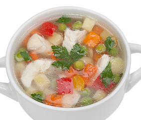 Chicken noodle soup isolated on a white background