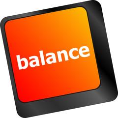 balance word on computer keyboard key button