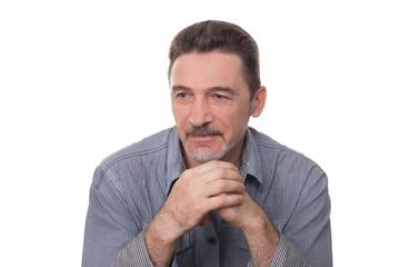 man beard with grey shirt
