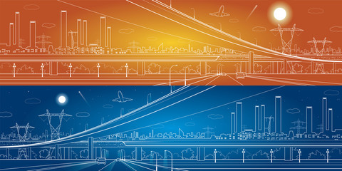 Car overpass, industrial panorama, infrastructure