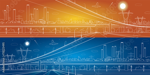 Car overpass, industrial panorama, infrastructure - 78223495