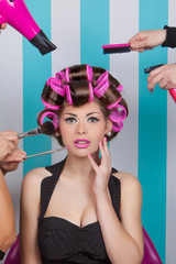 retro pin up woman in beauty salon