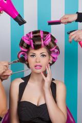 retro pin up woman in beauty salon