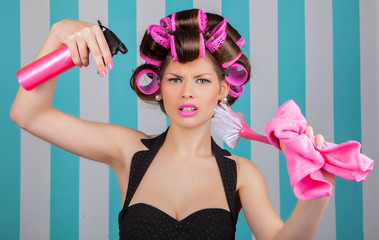 retro woman in rollers multitasking