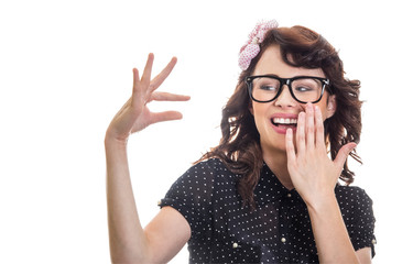 Smile woman showing with her fingers