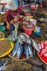Sale of fish and seafood in market