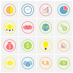 set of colorful business icons in circle