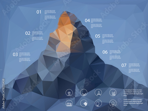 Low polygonal shape mountain background. Line icons for business - 78225438