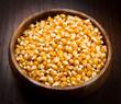 kernels, Corn seeds on wood bowl