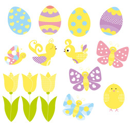 set of Easter eggs, chicken, flying butterflies and tulips