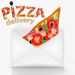 Pizza delivery concept with wite envelope