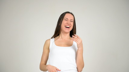 young beautiful woman laughs