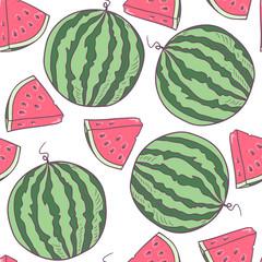 Juicy watermelon seamless pattern in vector
