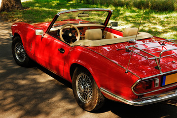 automobile, car, old, red, ready, lifestyle, weekend, waiting,