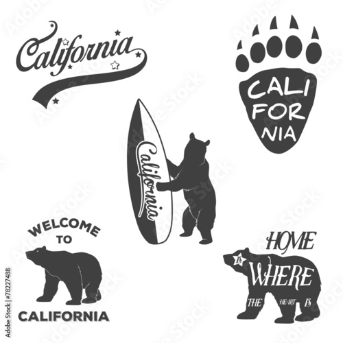Fototapeta Vintage California badges and design elements for Tshirt print.