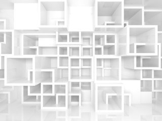3d interior with white chaotic square cells structure