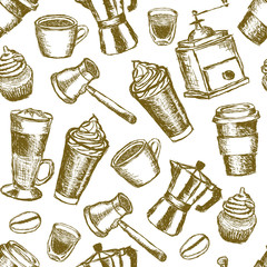 doodle coffee seamless pattern
