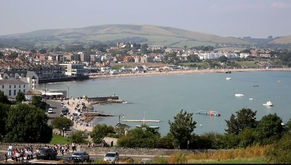 Swanage town and bay Dorset south England UK summer