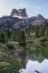 Mount Averau reflected in lake Limedes, Dolomites, Italy
