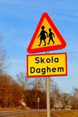 Varning för barn vid skola
