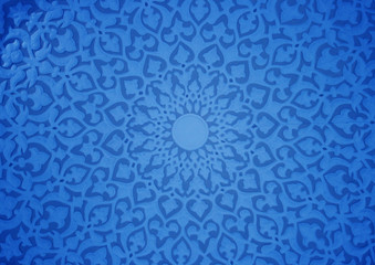 Oriental ornaments,plaster ceiling,blue version