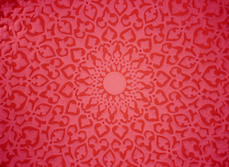 Oriental ornaments,plaster ceiling,red version