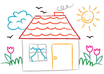 drawing children with house, sun and flowers