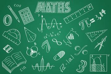 Hand drawn Maths set. Chalk on the blackboard