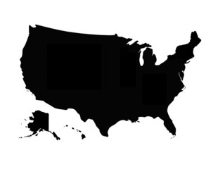 black map of USA
