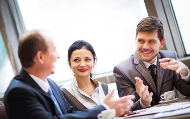 smart business partners communicating at meeting