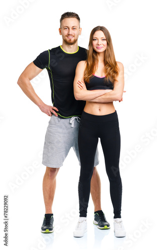 Sport couple - man and woman after fitness exercise