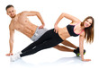 Sport attractive couple - man and woman doing fitness exercises - 78229223