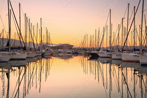 Fotobehang Athene Sail boats in Kallithea in Athens, Greece.