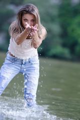 Woman in the beautiful scenery of Nestos river, Greece Xanthi