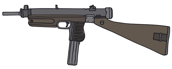Old automatic gun, vector illustration