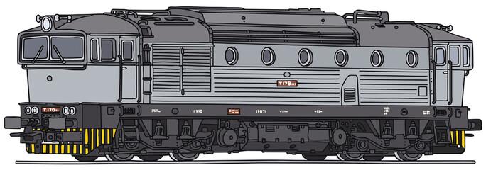 Classic diesel locomotive, vector illustration