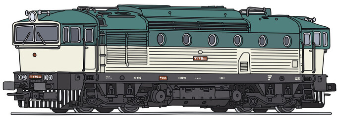 Old diesel locomotive, vector illustration