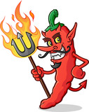 Hot Chili Pepper Devil Cartoon Character