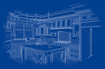 White Custom Kitchen Design Drawing on Blue