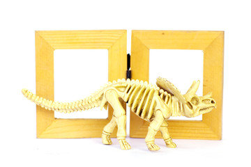 Dinosaur skeleton model on wood frame isolated on white - Stock