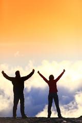 Success life achievement concept - cheering people