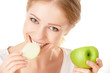 beautiful young healthy girl eating an apple