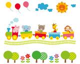 Fototapety 子供向け素材 汽車に乗る動物たち