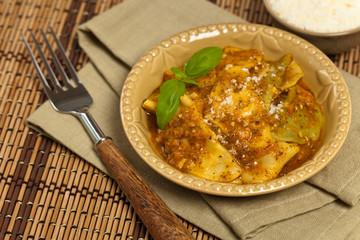 Ravioli with tomato sauce and parmesan cheese. Selective focus.