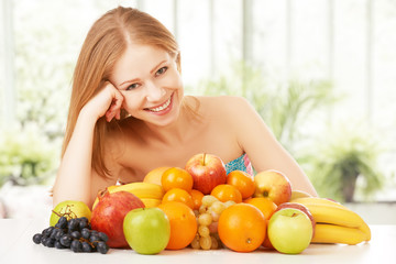 happy girl and healthy vegetarian food, fruit
