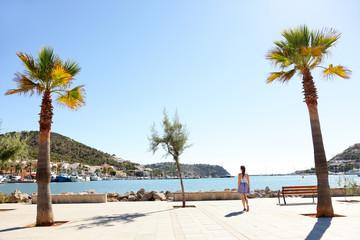 Port d'Andratx harbor, Mallorca - tourist walking