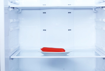 Single sausage on plate in refrigerator close up