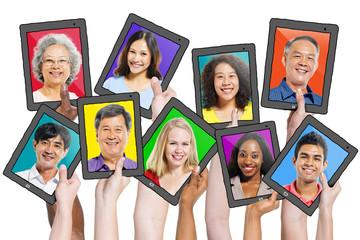 Headshots Diverse People Tablet Illustration Concept