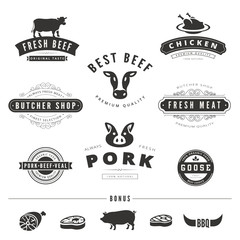 Grill BBQ Cow PIG Retro Vintage Labels Logo design vector