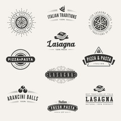 Italian cuisine Retro Vintage Labels Logo design vector